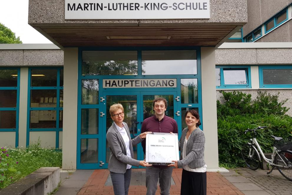 Talentscouting-Plakettenübergabe an der Martin-Luther-King-Schule